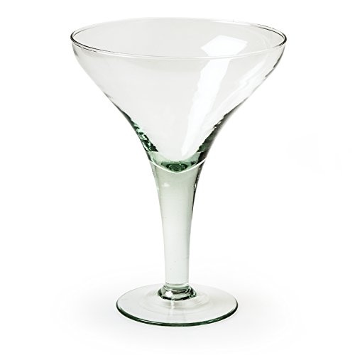 Jodeco Servierschale Pokal Eisbecher Eispokal aus Recycling Glas Glas-Schale am Stiel groß Eco 22,5cm