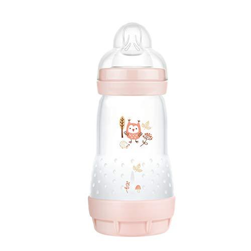MAM Easy Start - Biberón anticólicos (260 ml), Botella de Leche para la Lactancia Materna, con válvula Inferior contra cólicos y tetina, tamaño 1, 0 Meses, búho