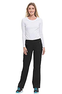 Purple Label by Healing Hands Scrubs Women's Tori 9133 5 Pocket Knit Waist Pant Black- Small Tall