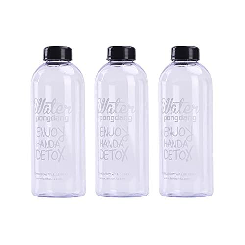 Botella de Agua Transparente Botella Para Beber Para en Casa y Para Llevar Botella de Agua de Bebida Carbonatada Botella Deportiva Botella de Agua Para Llevar A Prueba de Fugas para Acampar 3 Piezas