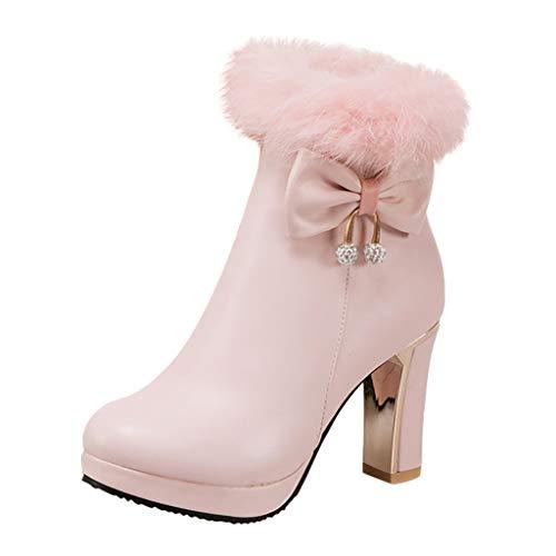 MOTOCO Damen Stiefel Mode Einfarbig Plus Samt Lace Frauen Booties Hoher Absatz Schuhe Booties(35.5 EU,Rosa)