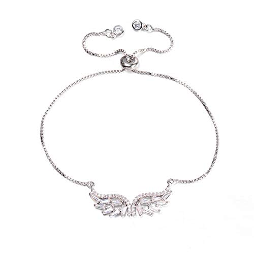 HappyL Luxury Cubic Zirconia Angel Wing Bracelet Bride Adjustable Jewelry Copper Chain (Color : Silver)