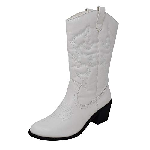 Charles Albert Women's Embroidered Modern Western Cowboy Boot in White Size: 6