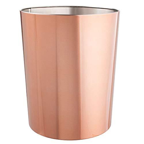 mDesign runder Mülleimer – kompakter Abfalleimer für Bad, Büro und Küche mit ausreichend Platz für den Müll – Papierkorb aus Edelstahl – rotgold