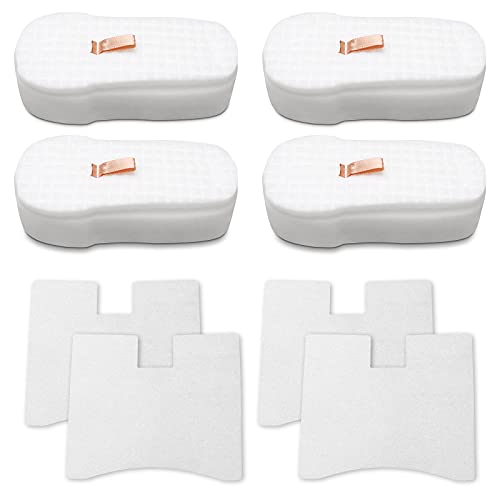 HEROSKY 4 Pack Post-Motor Filter and 4 Pack Foam-Felt Filter Replacement for Shark HZ2000, HZ2002, HZ251 Corded Stick Vacuum. Compare Part # XFFKHZ2000 and XPMFHZ2000.
