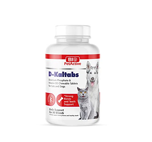 D-Kaltabs Puppy Vitamins  Phosphorus  Calcium  Vitamin D3 Supplement for Dog's & Cat's  Daily Pet Tabs  Prenatal Dog Cat Vitamins Bone Supplement  Strong Nail  Teeth Support  84 Chewable Tablets