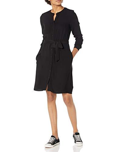 Amazon Essentials Women's Long-Sleeve Banded Collar Shirt Dress, Black, Large