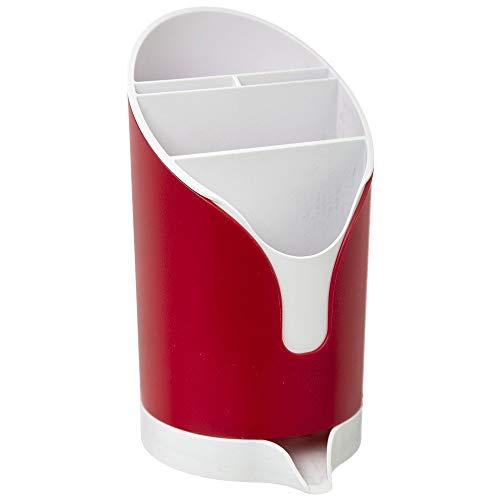 SG Secret de Gourmet Portaposate Scola Posate da Cucina - Scolaposate Design Moderno in Plastica - Asciuga e Cola Posate per Piano Lavello (Rosso)
