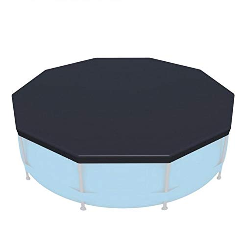 B Baosity Robust PVC Pool Cover Round Above-ground Pool Liner with Drawstring - Black, 366cm