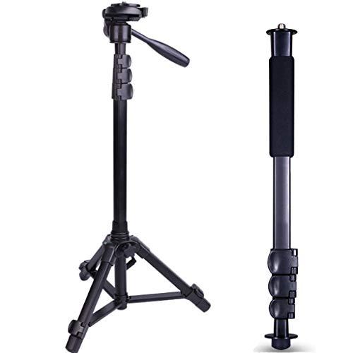 QQAA Leichter Kameraständer, SLR-Kamerastativ, Projektorständer mit Einbeinstativ, als Wanderstock einsetzbar, Leichter Reiseständer, Live-Übertragung, schwarz