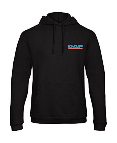 orestamazon DAF LKW Besticktes Logo Kaputzenpullover Hoodie Premium-Qualität - 7108 - SCHWARZ