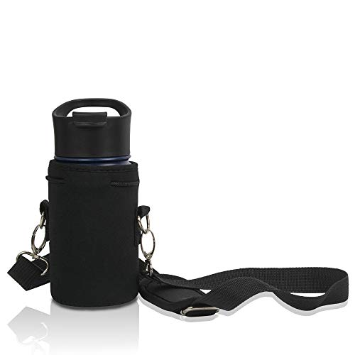 Made Easy Kit Neoprene Water Bottle Carrier Holder with Adjustable Shoulder Strap for Insulating and Carrying Water Container Flask - (Black, L (32oz / 1.5L)) Available in 5 Sizes