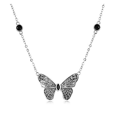CHIOU Colgantes Plata Vintage Gema Oscura Grande Collar de Mariposa para Mujeres 925 joyería de Plata esterlina Bola Fiesta de Fiesta de Halloween goker