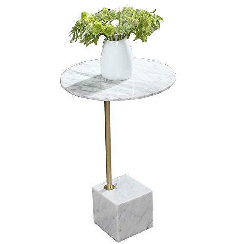 GAOLIM Simplicidad nórdica Mesa Auxiliar de mármol Mini Mesa Redonda pequeña Balcón Jardín Mesa de Centro de Ocio Mesa de Esquina de la Sala de Estar, 40 Veces; 60 CM (Color: Blanco)