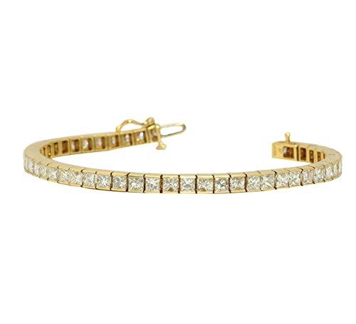 Oro giallo 18carati taglio princess moderno elegante classico con bracciale tennis (12.51ct, colore K, VS Clarity)