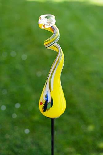 Gardecor Rosenkugel auf Stab – Handgemachte Garten Dekoration für Ihren Garten, hohe Qualität. Alle unsere Deko Garten Kugeln sind Winterfest und aus höchster Qualität (Gelb)