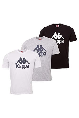 Kappa heren T-shirt VEPPEL in 3-pack | sport-shirt met ronde hals en logoprint, basic shirts voor mannen | korte mouwen bovendeel voor sport en vrije tijd | regular fit