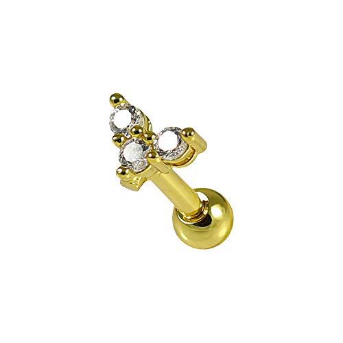 Gold eloxiert cz Stein Trinity Herz 16 Gauge chirurgischen Stahl knorpel Helix Tragus Ohr Piercing schmuck
