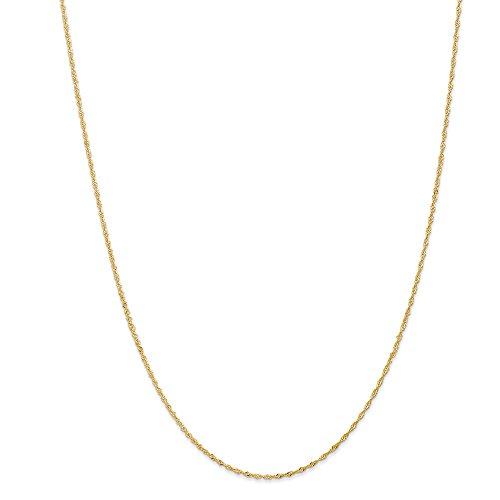 Diamond2deal 14K giallo oro 1.10mm Singapore catena collana 45,7cm