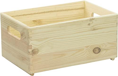 LAUBLUST Holzkiste mit Handgriffen - ca. 30x20x14cm, Natur | Stapelbare Allzweckkiste aus Holz - Aufbewahrungskiste | Geschenkverpackung | Dekokiste zum Basteln | Küchenbox | Spielzeugkiste