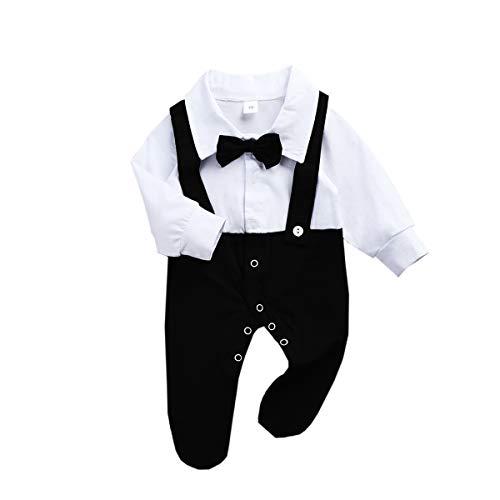 puseky False Two Piece Baby Boy Romper Gentleman Style Cotton Jumpsuit Bodysuit Black