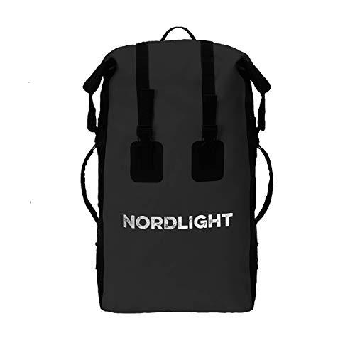 Nordlight Wasserdichter Rucksack 30L Roll Top - mit gepolstertem Tragegurt, Dry Bag Rucksack für Wassersport, Fahrrad Rucksack, Kurierrucksack, Trekking, Angeln, Snowboarden (Schwarz)