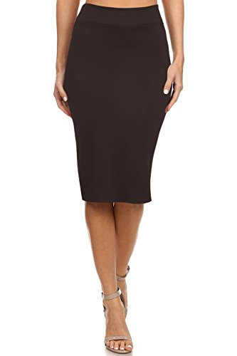 Women's Below the Knee Pencil Skirt for Office Wear - Made in USA ,Deep Brown ,Medium