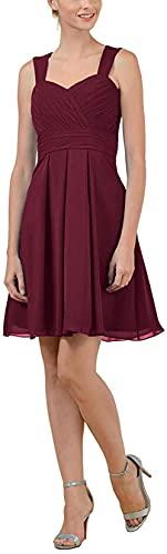 DELEND Vestidos de Dama de Honor de Gasa Cortos con Pliegues y cariño Elegantes para Mujer A-Line 2021 Vestido de Fiesta Formal Vestido de Fiesta para Mujer
