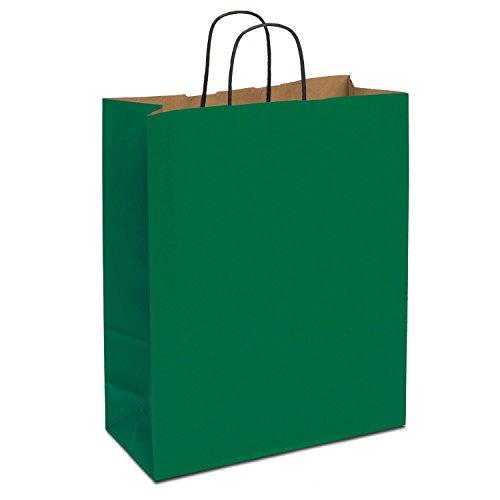 150 x Papiertaschen grün 40+16x45 cm | stabile Papiertragetaschen farbig | Kraftpapiertüten Kordelhenkel | Papiertüten Groß | HUTNER