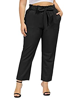 Hanna Nikole Women Plus Size High Waist Working Pants Slim Stretchy Trousers Pants Black 18W