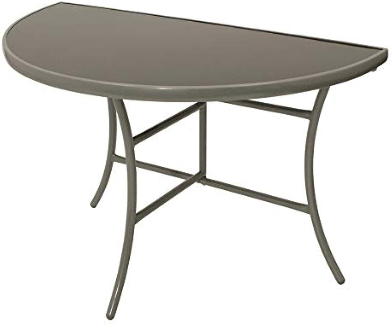 DEGAMO Wandtisch Palermo halbrund 58x110cm, klappbar, Stahl silberfarben, Glas grau, Innen und Auen