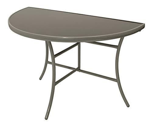 DEGAMO Wandtisch Palermo halbrund 58x110cm, klappbar, Stahl silberfarben, Glas grau, Innen und Außen