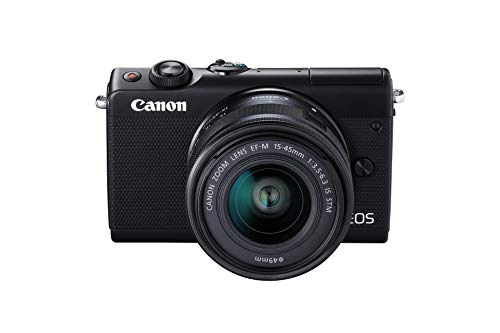 Canon EOS M100 SLR Digitalkamera (24,2 MP, Dual Pixel CMOS AF, DIGIC 7, Full-HD, Touchscreen, WIFI, Bluetooth, 7,5 cm, klappbares Display) mit Objektiv EF-M 15-45 mm IS STM schwarz