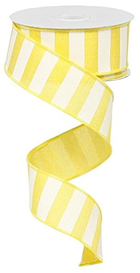 Yellow White Striped Fabric Burlap Wired Ribbon (1.5 Inches x 10 Yards) : RX9148X7
