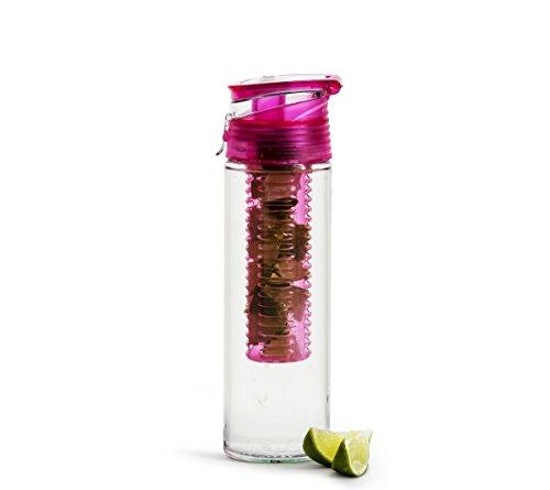 Sagaform Fresh Flasche mit Früchteeinsatz, Kunststoff, Pink, One Size