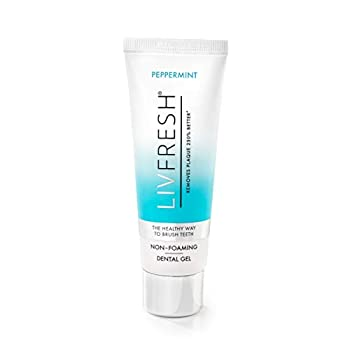 LIVFRESH Dental Gel by Livionex  Formerly Livionex Dental Gel  - Clinically Proven to Remove Plaque 250% Better  Peppermint + Non-Foaming + Blue Gel
