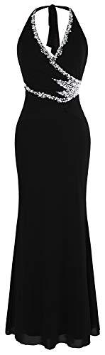 Angel-fashions Damen Neckholder mit V-Ausschnitt Perlen schlank langes schwarzes Kleid klein