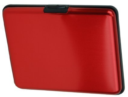 HONB Aluminum Wallet Credit Card Holder RFID Blocking Card Case Women Men (Aluminum Red)