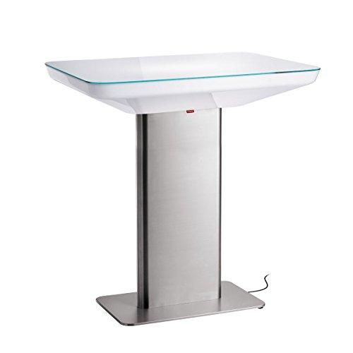 Moree vloerlamp Studio Outdoor 105, metallic/transparant/wit, roestvrij staal/glas/kunststof, 16-03-04