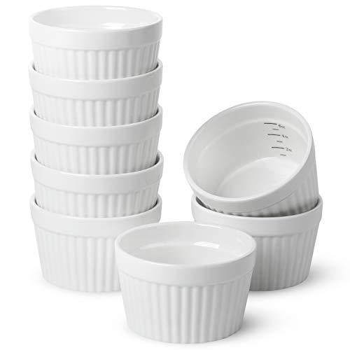 BTaT- Ramekins, Set of 8, Ramekins for Baking, Ramekins 6 oz, Ramekin with Measurement Markings, Creme Brulee Dishes, Souffle Cups, Custard Cups, Ceramic Bakeware, Souffle Dish, Small Ceramic Bowl
