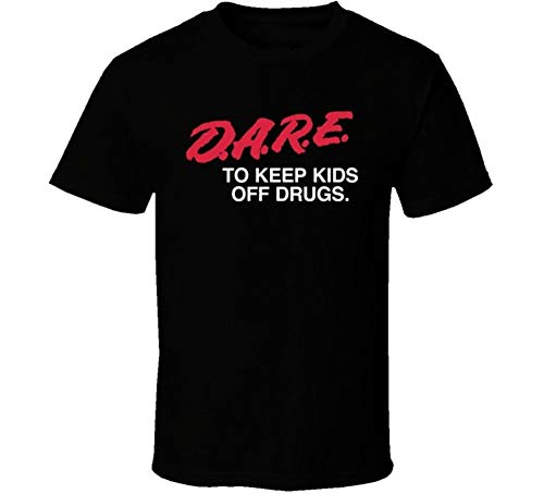 Dare Keep Kids Off Drugs Anti Drug Retro T Shirt Men's Fashion Crew Neck Short Sleeves Cotton Tops Clothing, Black