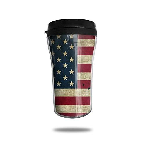 OUYouDeFangA Baseball-Becher mit amerikanischer Flagge, Vintage-Stil, Reise-Kaffeetasse, 3D-gedruckt, tragbar, Vakuum-Becher, isolierte Teetasse, Wasserflasche zum Trinken mit Deckel, 250 ml