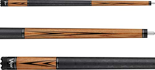 """Viper Elemental 58"""" 2-Piece Billiard/Pool Cue, Ash with Amber Stain, 19 Ounce"""