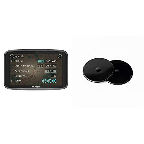 TomTom LKW Navigationsgerät GO Professional 6250 (6 Zoll, Sonderziele und Routen für LKW, Stauvermeidung Dank TomTom Traffic, Karten-Updates Europa) & Klebe-Befestigungsplatten fürs Armaturenbrett