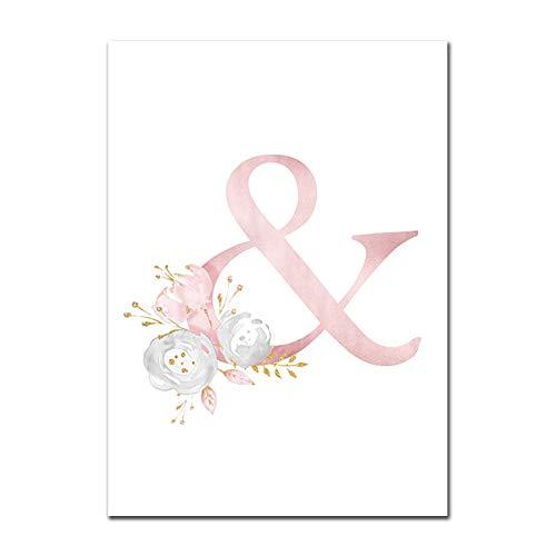 Baby Poster Personalisierte Mädchenname Benutzerdefinierte Poster Kinderzimmer Drucke Rosa Blumen Wandkunst Leinwand Malerei Bilder Für Mädchen Zimmer W 40X60cm Kein Rahmen