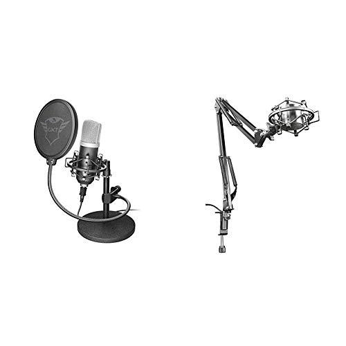 Trust Emita Professionelles USB Studio Mikrofon schwarz & Einstellbarer Mikrofonarm, schwarz
