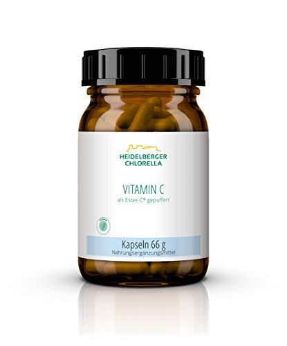 Heidelberger Chlorella – Vitamin C als Ester-C® gepuffert Kapseln, vegan, magenschonend, hochdosiert, gute Bioverfügbarkeit, hergestellt in Deutschland, 66 g, 110 Kapseln