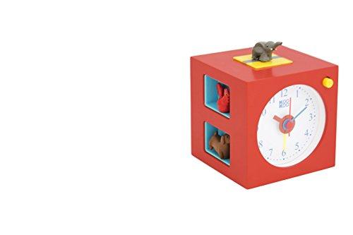 KOOKOO KidsAlarm rot, Kinderwecker mit 5 Bauernhoftieren und deren Tierstimmen, echte Aufnahmen aus der Natur, Gehäuse aus MDF Holz
