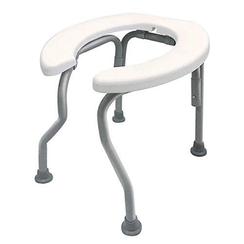 Pratica Comoda Sedia Pieghevole da Toilette, Sedia da Toilette Portatile a Forma di U in Acciaio, Sgabello per Doccia Mobile da Bagno per Adulti, Antiscivolo Lavabile Facile da Usare