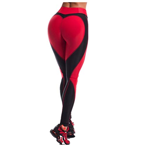 Fliegend Damen Leggings Jogginghose High Waist Yoga Hose Herz Sporthose Frauen Elastisch Leggins Push Up Fitnesshose Gym Workout Tights M